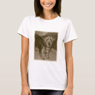 Old Photo Silky yorkie terrier T-Shirt