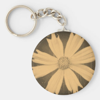 Old photo Yellow Cosmos Flower Close-up Keychain