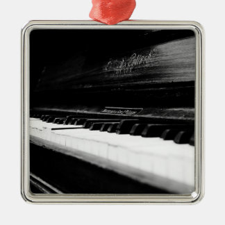 Old Piano Square Metal Christmas Ornament