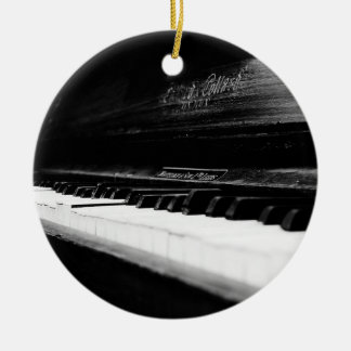Old Piano Double-Sided Ceramic Round Christmas Ornament