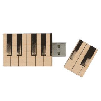 Old Piano Keys Cool Fun Wood USB 2.0 Flash Drive