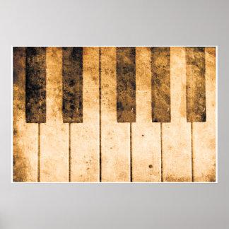 Old Piano Keys Music Art Poster