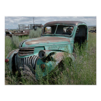 Old Pickup Truck in Field Photo Poster