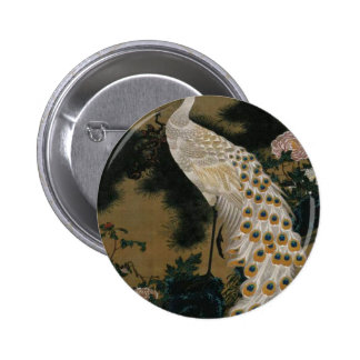 Old Pine Tree and Peacock by Ito Jakuchu 6 Cm Round Badge