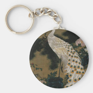Old Pine Tree and Peacock by Ito Jakuchu Basic Round Button Key Ring