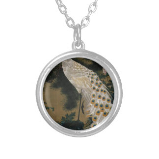 Old Pine Tree and Peacock by Ito Jakuchu Round Pendant Necklace