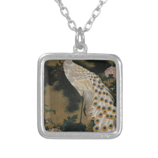 Old Pine Tree and Peacock by Ito Jakuchu Square Pendant Necklace