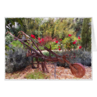Old plough in Portuguese garden blank card