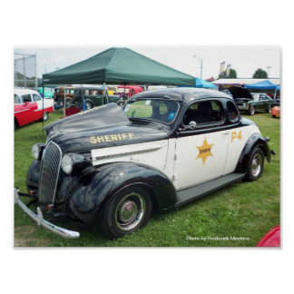 Old Police Car Poster