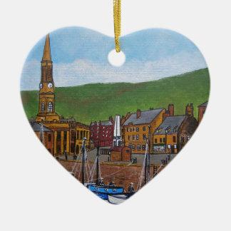 Old Port  Glasgow Harbour Ceramic Heart Decoration