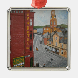 Old Port Glasgow with Town Clock Christmas Ornament