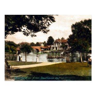 Old Postcard - Boathouse, Stratford-upon-Avon