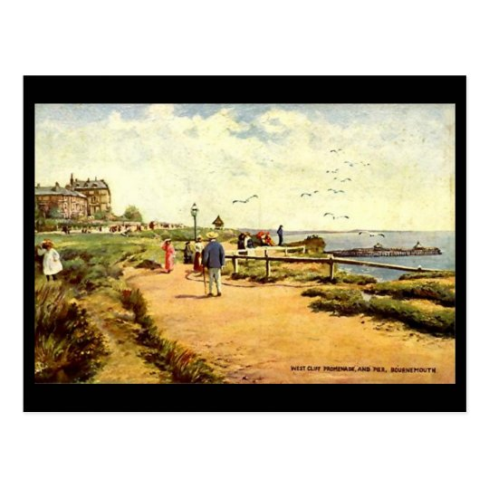 Old Postcard - Bournemouth, West Cliff and Pier