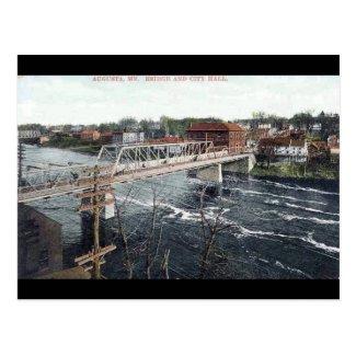 Old Postcard - Bridge and City Hall, Augusta, Main
