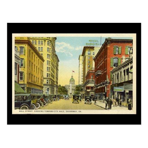 Old Postcard, Bull St, Savannah, Georgia
