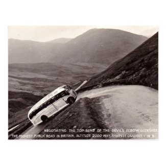 Old Postcard - Bus on the Devil's Elbow