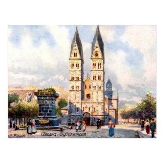 Old Postcard - Castorkirche, Koblenz, Germany