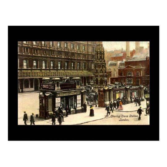 Old Postcard, Charing Cross Station, London Postcard