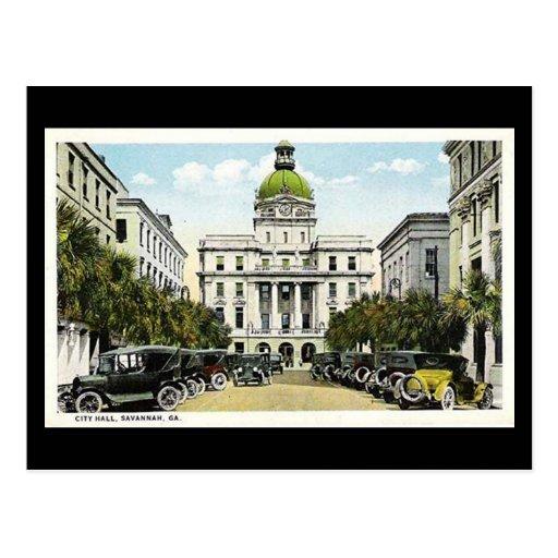 Old Postcard, City Hall, Savannah, Georgia