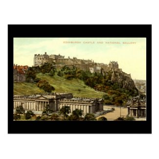 Old Postcard, Edinburgh Castle & National Gallery
