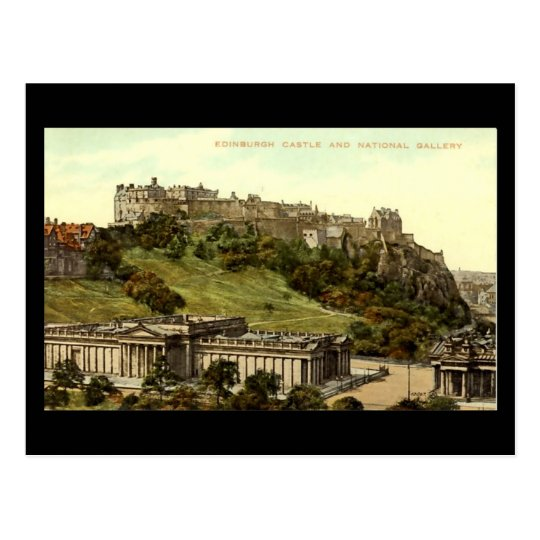 Old Postcard, Edinburgh Castle & National Gallery Postcard
