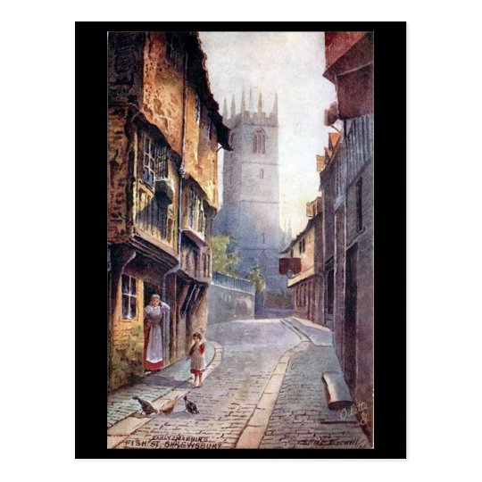 Old Postcard - Fish Street, Shrewsbury, Shropshire