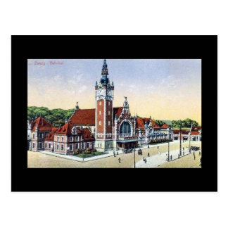 Old Postcard, Gdansk (Danzig) Railway Station Postcard