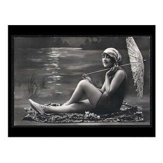Old Postcard - Girl by a River
