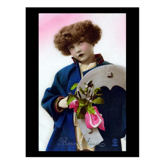 Old Postcard - Girl in a Blue Coat