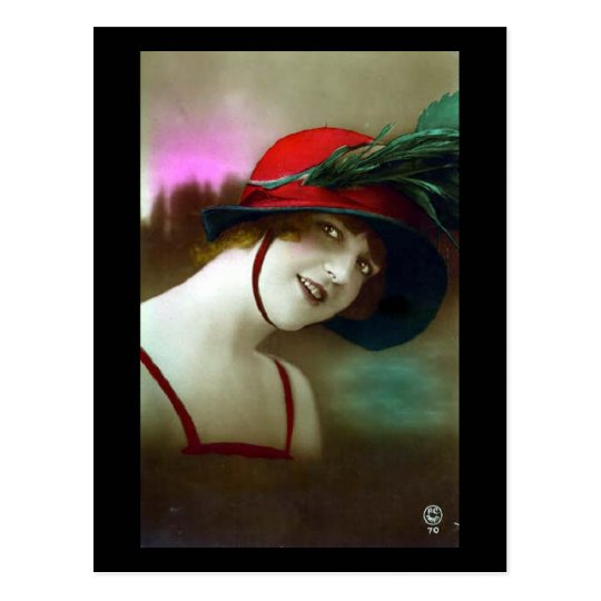 Old Postcard - Girl in a Red Hat