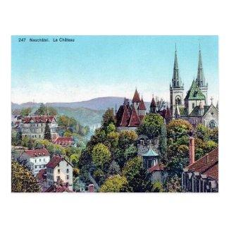 Old Postcard - Le Château de Neuchâtel, Suisse