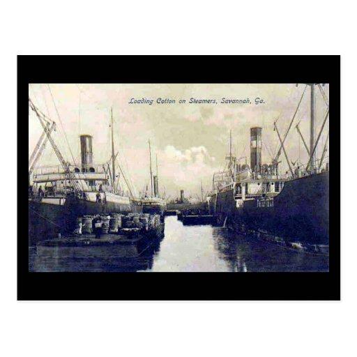 Old Postcard, Loading Cotton, Savannah, Georgia
