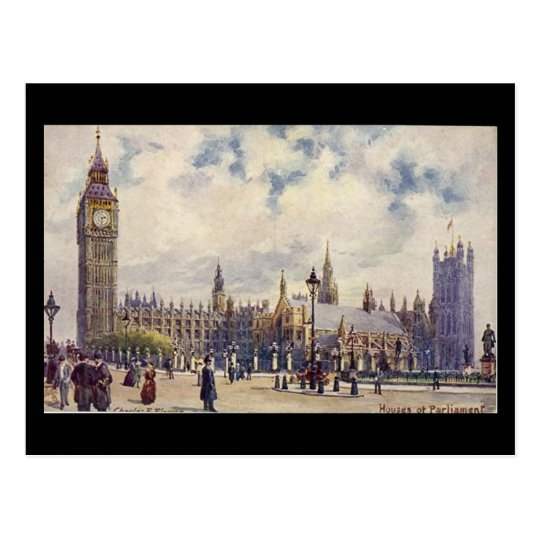 Old Postcard - London, Houses of Parliament
