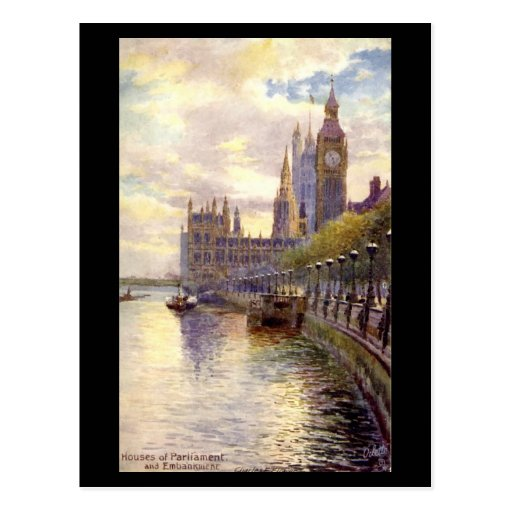 Old Postcard - London, Parliament and the Embankme