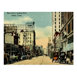 Old Postcard - Main Street, Dallas, Texas