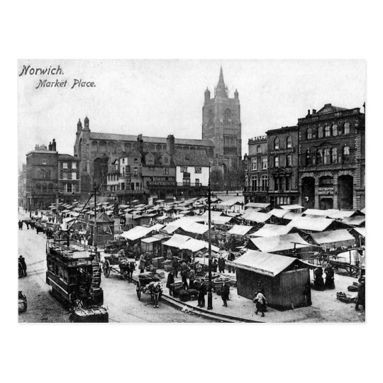 Old Postcard - Norwich Market Place, Norfolk