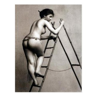 Old Postcard - Nude up a ladder