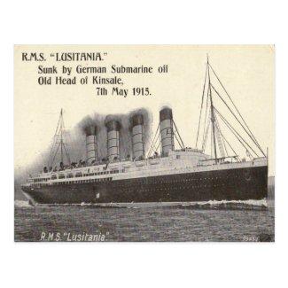 Old Postcard - RMS Lusitania