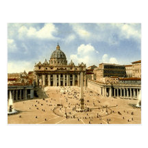 Old Postcard, Rome, St Peter's and the Vatican