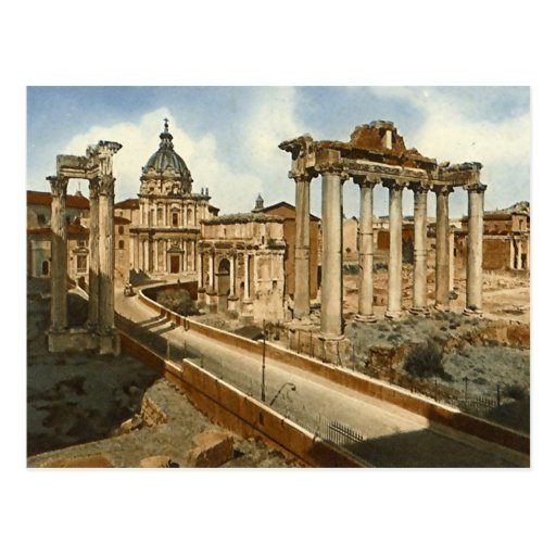 Old Postcard, Rome, the Forum and Temple of Saturn