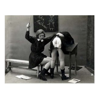 Old Postcard - Schoolgirl being Punished