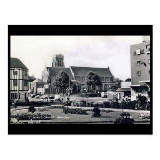 Old Postcard - St Mary's Church, Swansea.