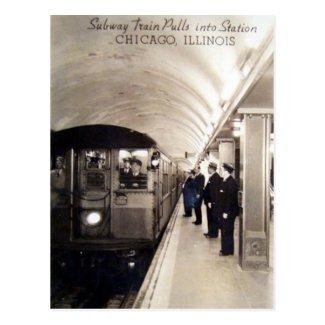 Old Postcard - Subway Train, Chicago, Illinois