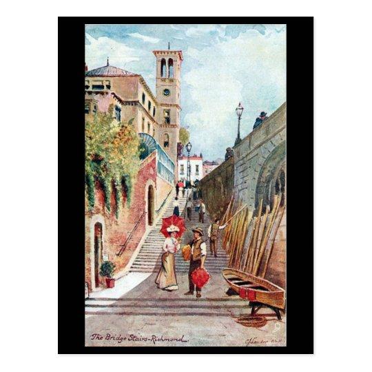 Old Postcard - The Bridge Stairs, Richmond, London