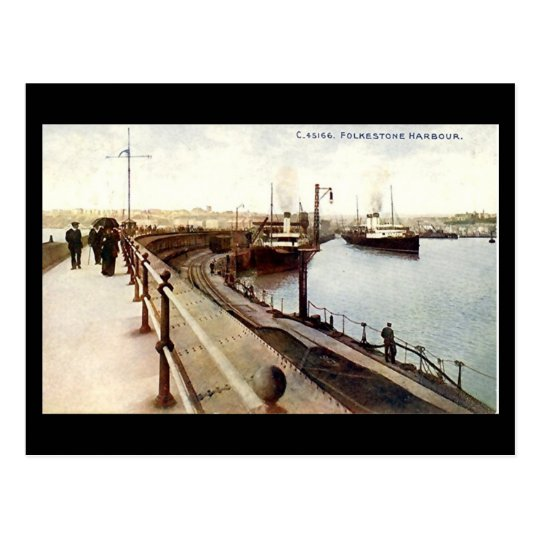 Old Postcard - The Harbour, Folkestone, Kent