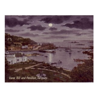 Old Postcard - Torquay by Moonlight