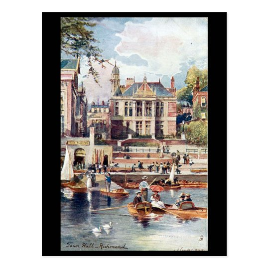 Old Postcard - Town Hall, Richmond, London.