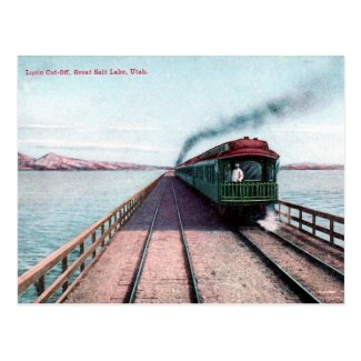 Old Postcard - Train, Great Salt Lake, Utah