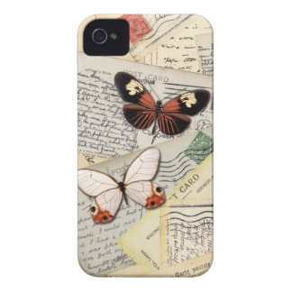 Old Postcards & Butterflies Collage iPhone 4 Case-Mate Case