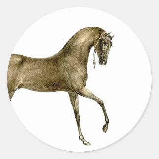 Old Print Horse Image Round Sticker